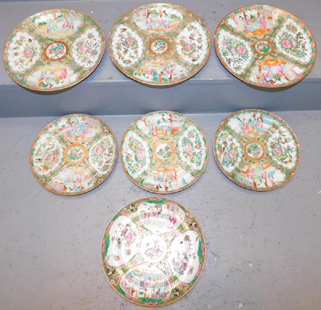 Set of 7 19th C Rose Medallion plates.