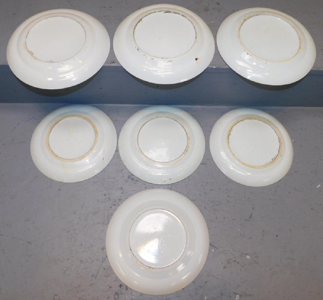 Set of 7 19th C Rose Medallion plates. - 2
