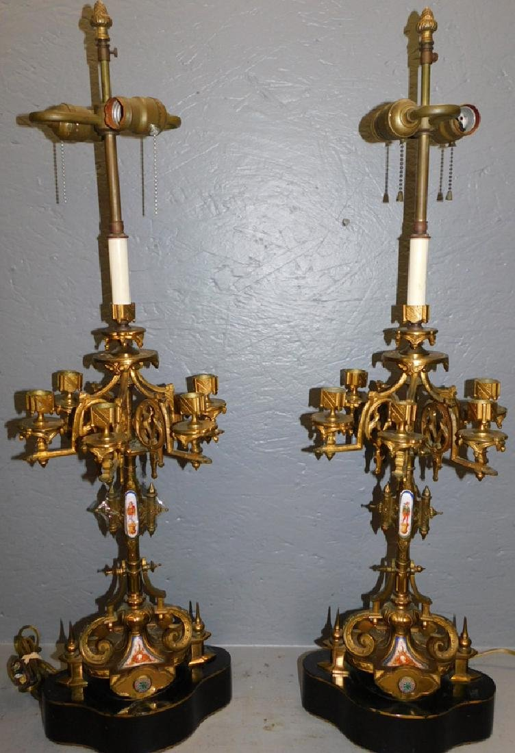 "Pair of Belle Epoch candelabra lamps. 33"" tall."