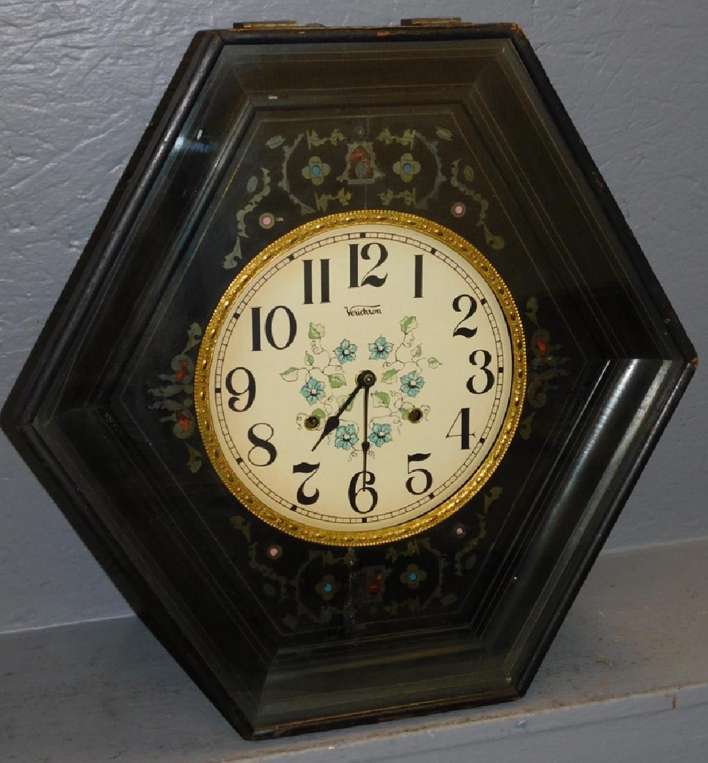 19th c 8 day hexagon wall clock w/ brass & enamel inlay