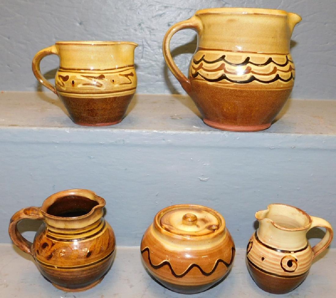 5 pcs.Wincombe, Tustin & Aylesford Priory pottery.