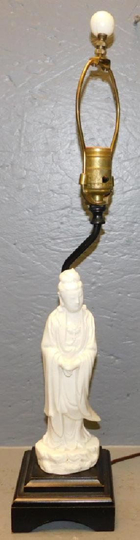 Chinese Quin Yan figural lamp.