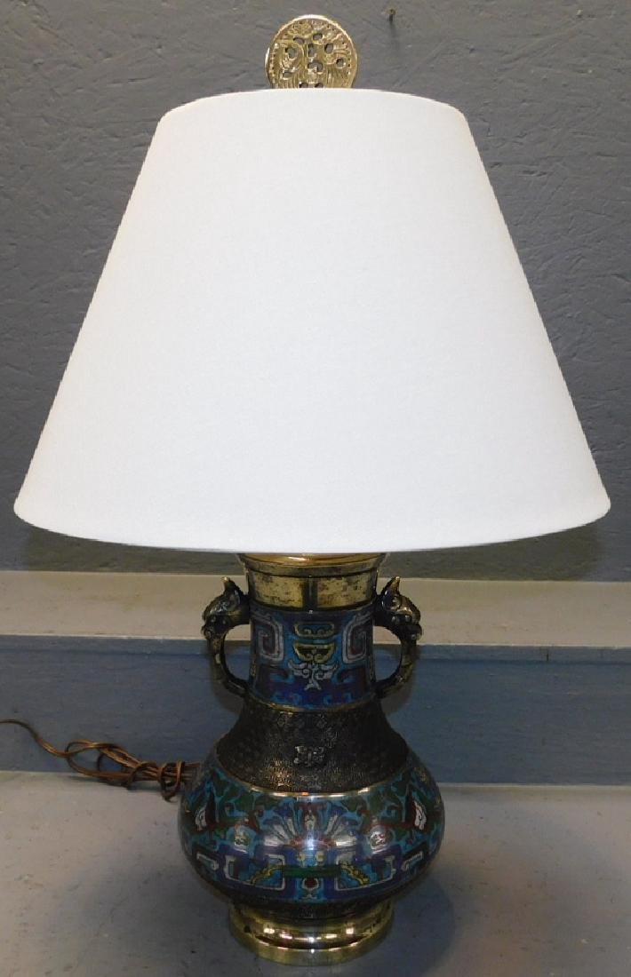 "Polished Champleve urn lamp. 26"" tall."