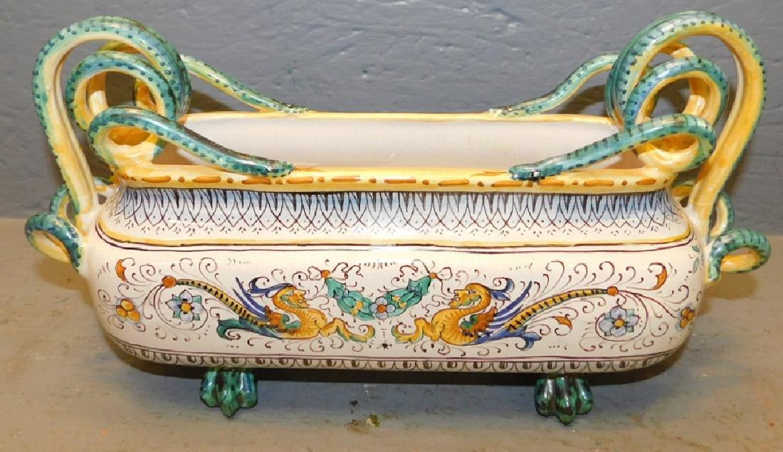 Italian faience painted porcelain center piece. - 2