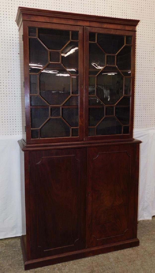 19th C mahogany 2 part bookcase cabinet.