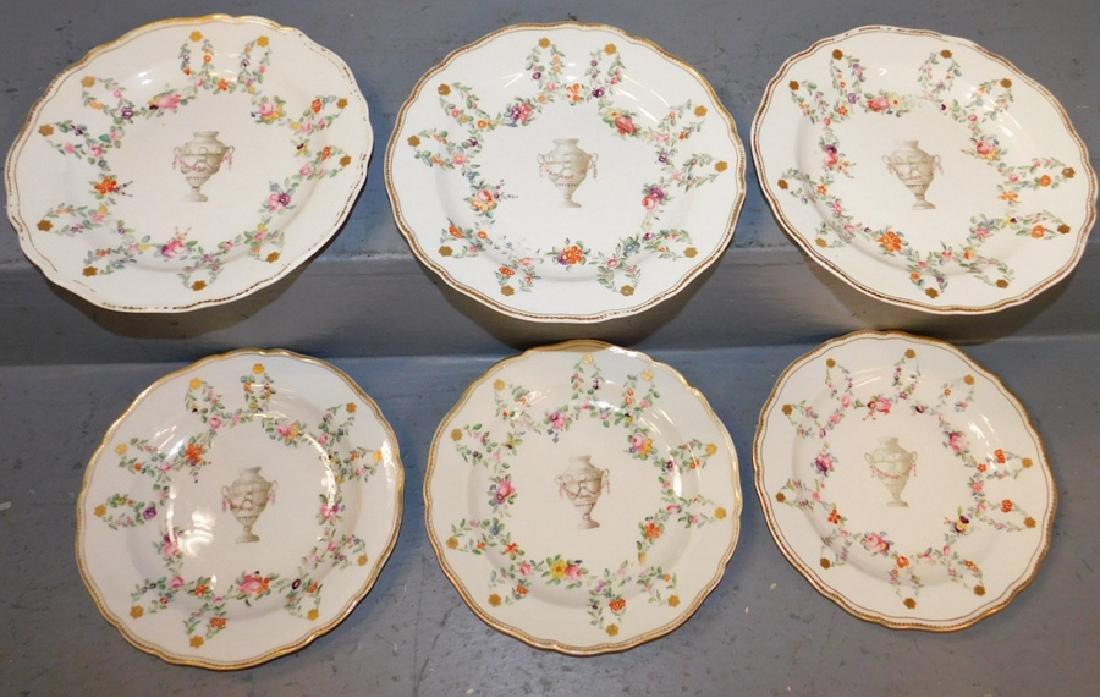 Set of 6 Crown Derby 19th century urn plates.