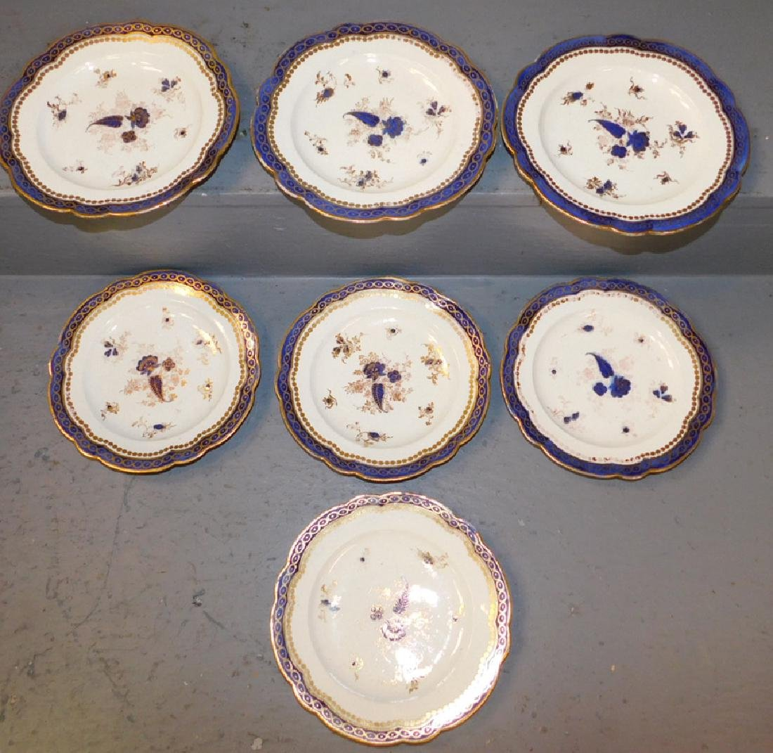 8 Caughley English cream ware plates dated 1770