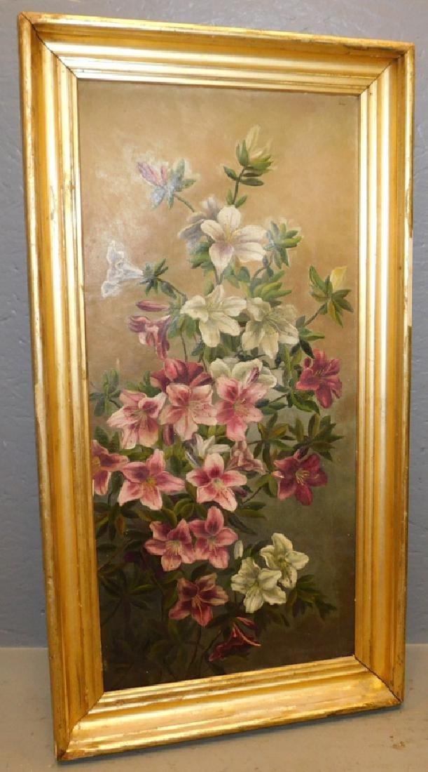 "Still life oil on canvas. 27"" x 14""."