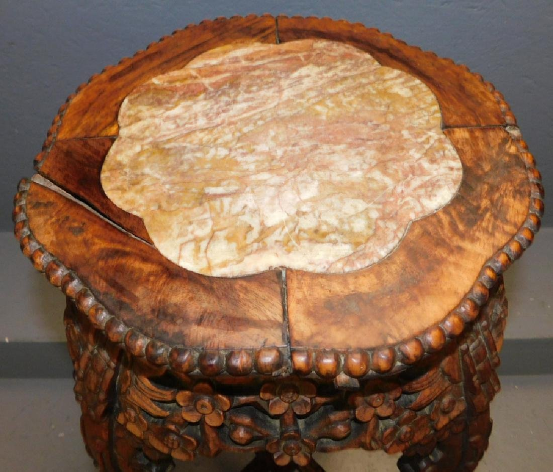 19th c carved teakwood Rose marble top stand. - 2