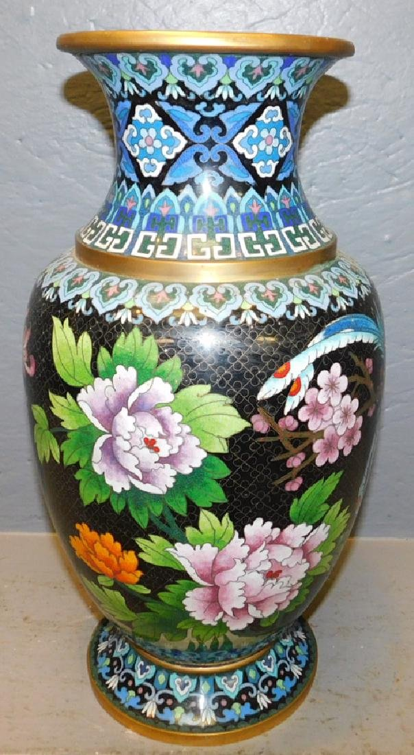"""Cloisonne vase with parrot. 16"""" tall."""