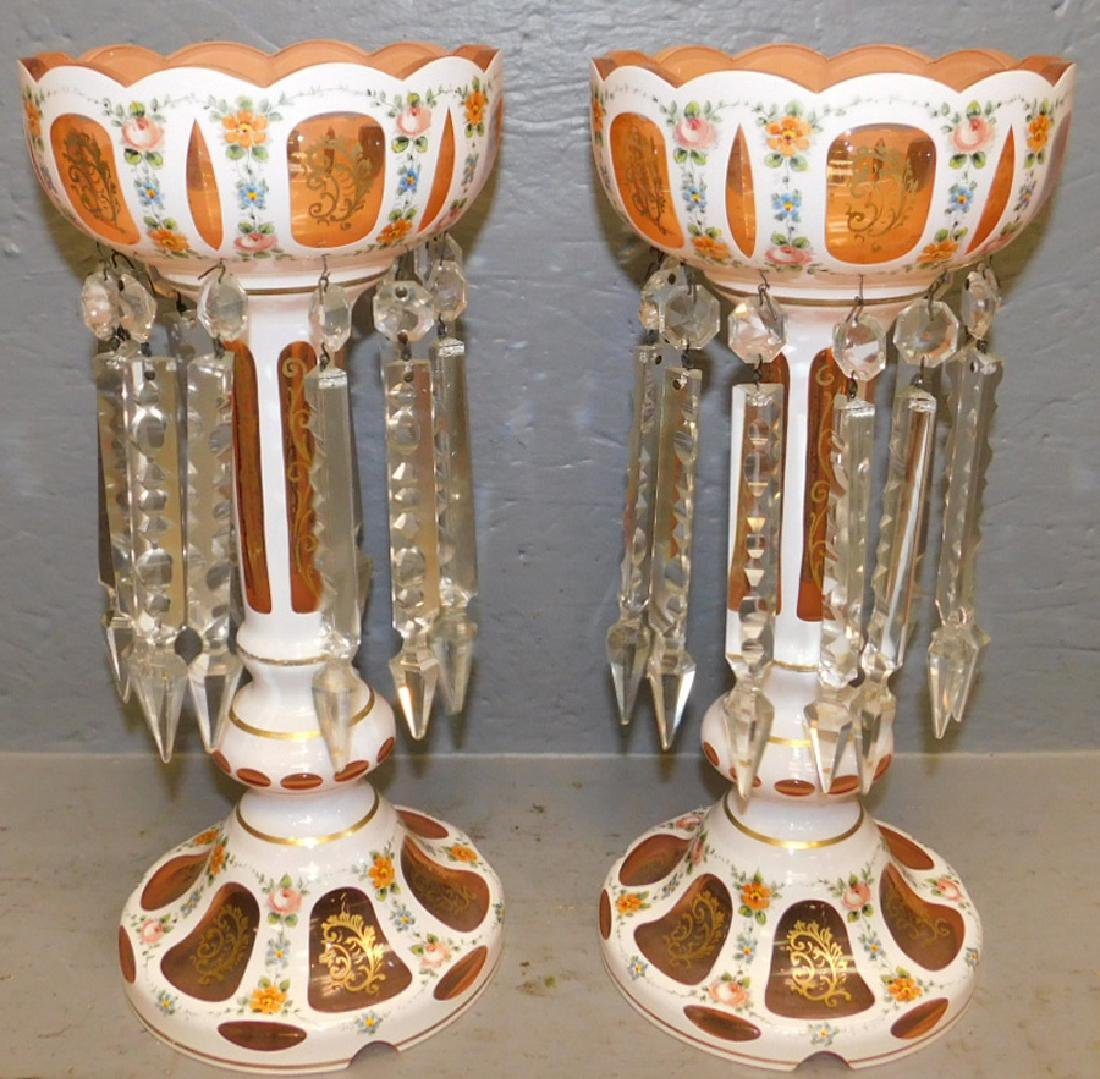 Pair of Bohemian glass overlay crystal lusters.