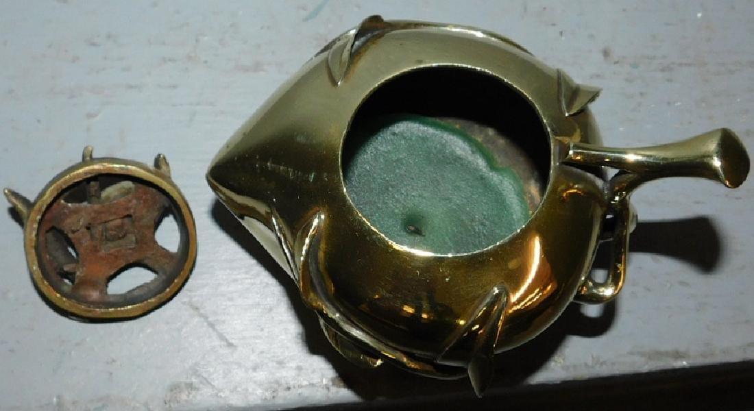 "19th century polished bronze censer. 5"" long. - 3"