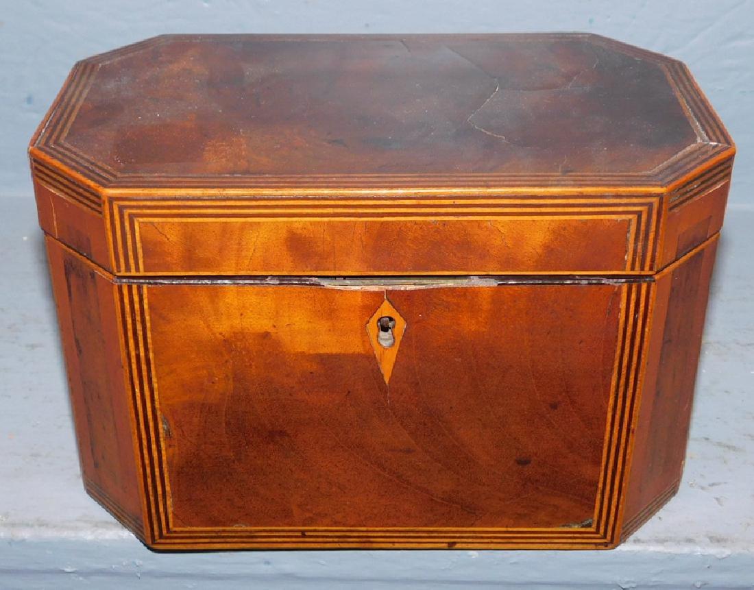 19th century inlaid mahogany tea caddy.