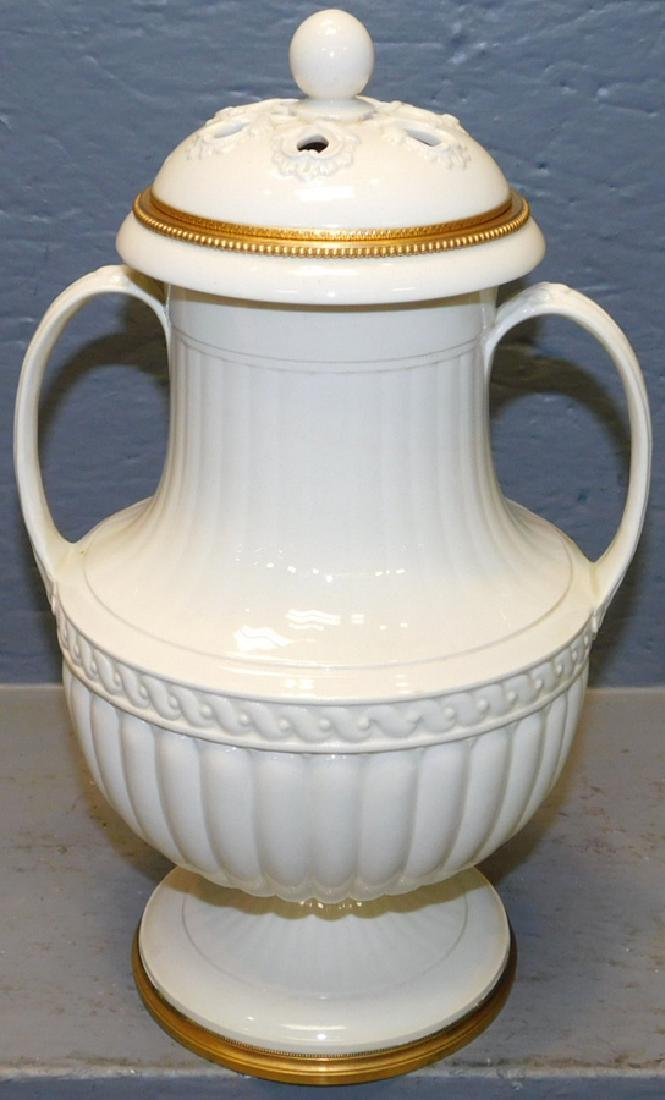 Early Wedgwood reticulated 2 handle floral urn.