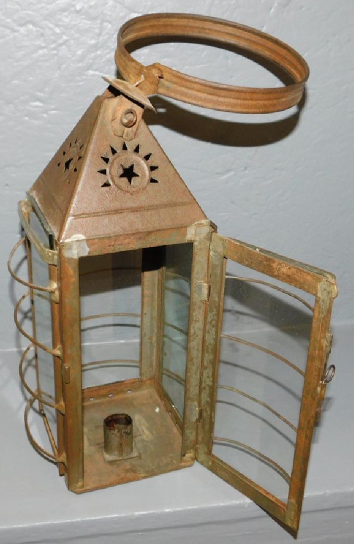 "19th century tole and glass tin lantern. 16"" tall. - 2"