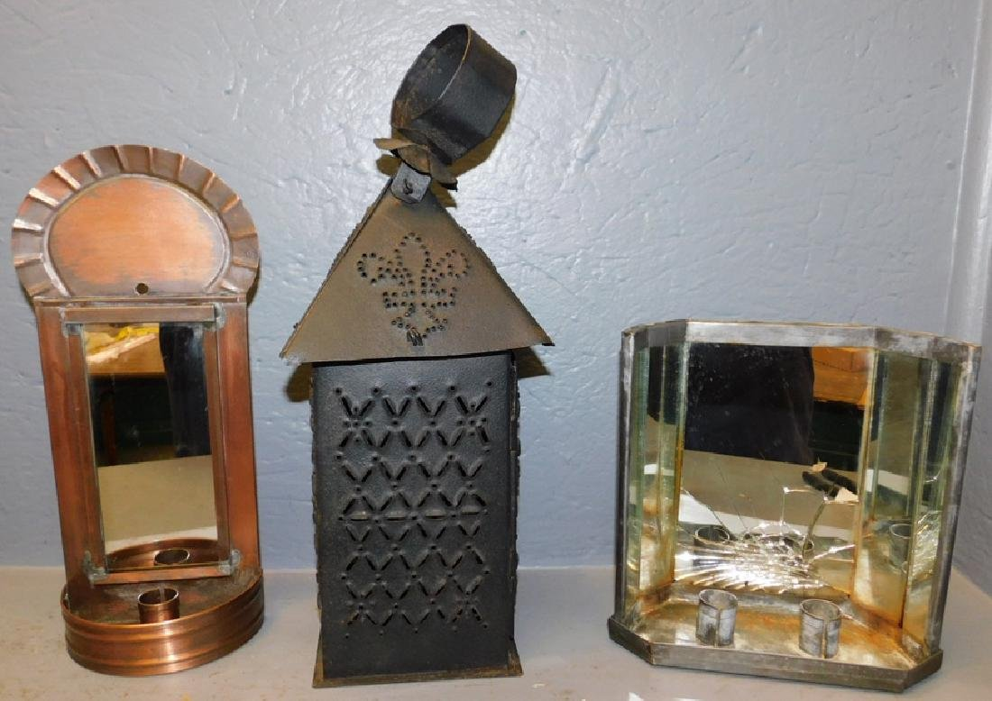 2 mirrored sconces & punched tin lantern.