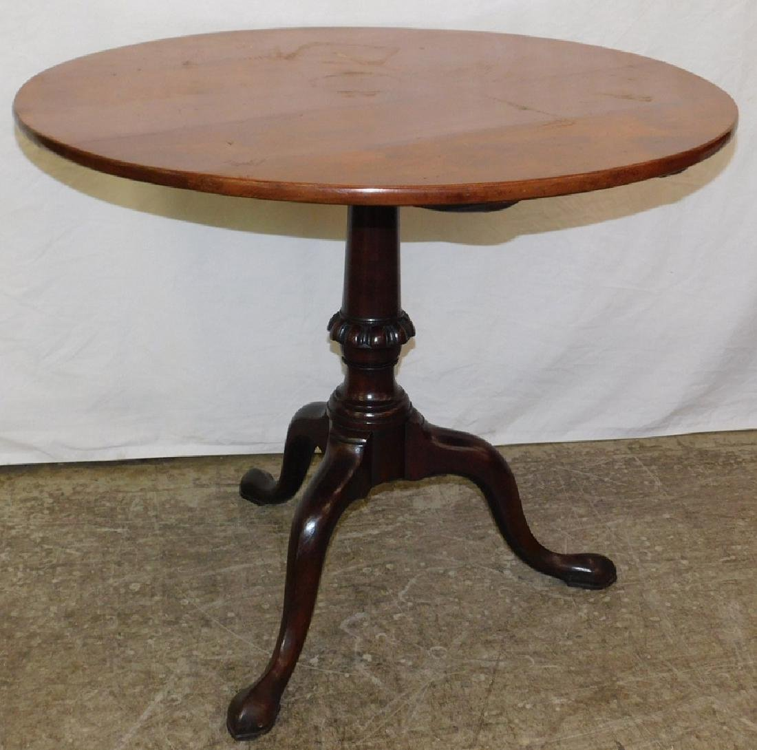 18th century Bleach mahogany tilt top QA table.
