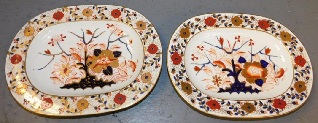 Pr 19th c Crown Derby oval platters (different marks)