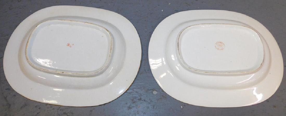Pr 19th c Crown Derby oval platters (different marks) - 2