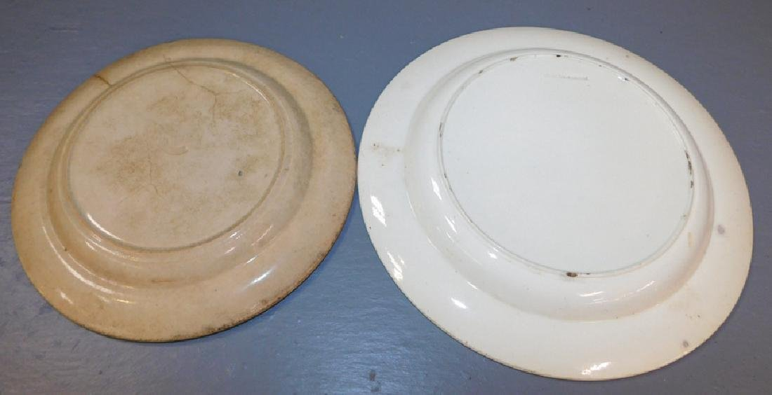 """2 early black transfer plates. One is as is. 10"""" dia. - 4"""