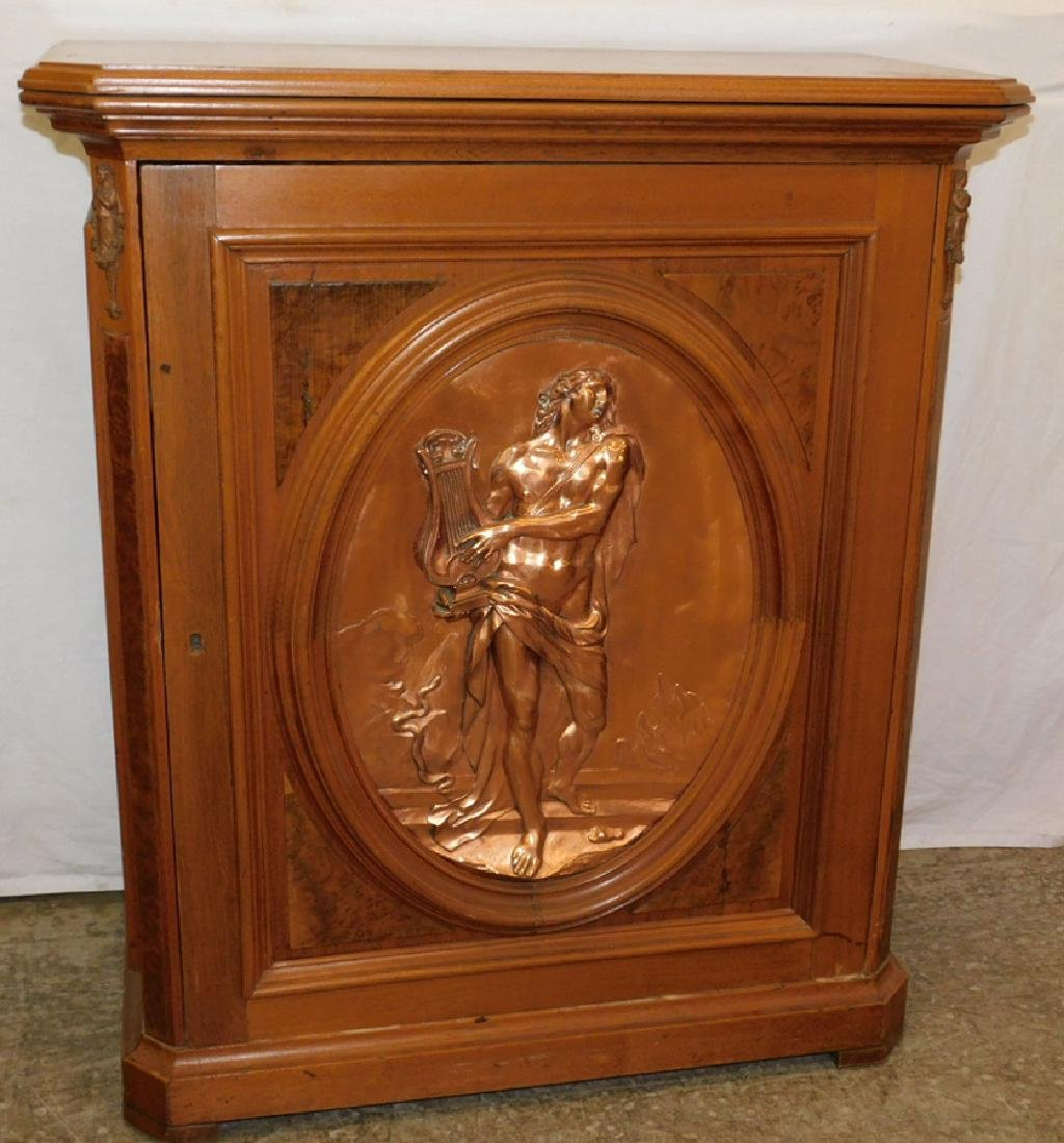 Victorian walnut credenza with large bronze plaque