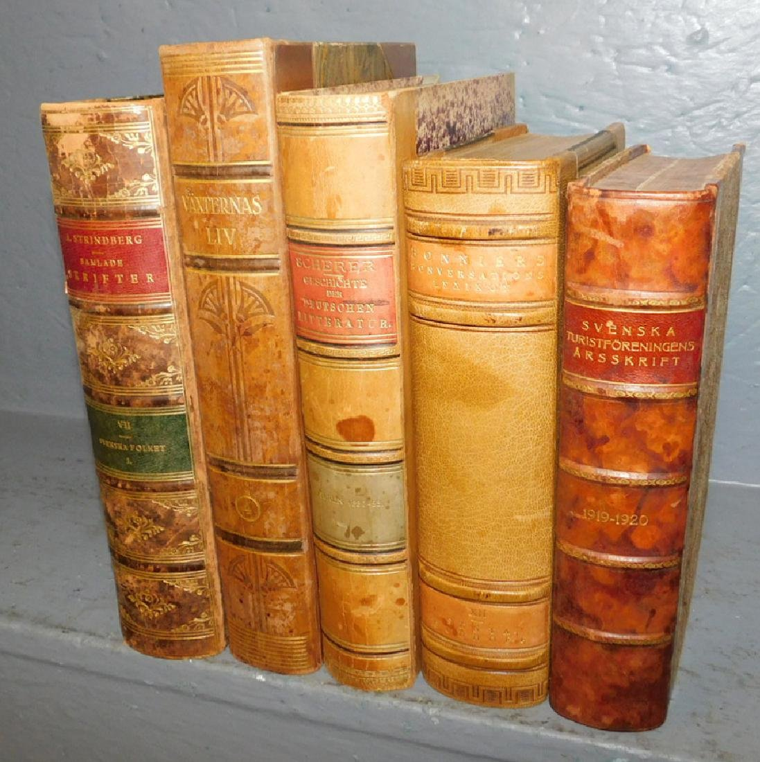 5 quarter leather bound books