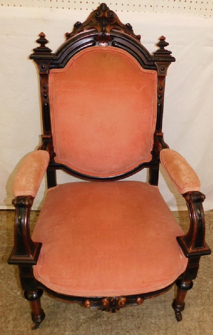 Vict carved walnut Renaissance Revival arm chair.