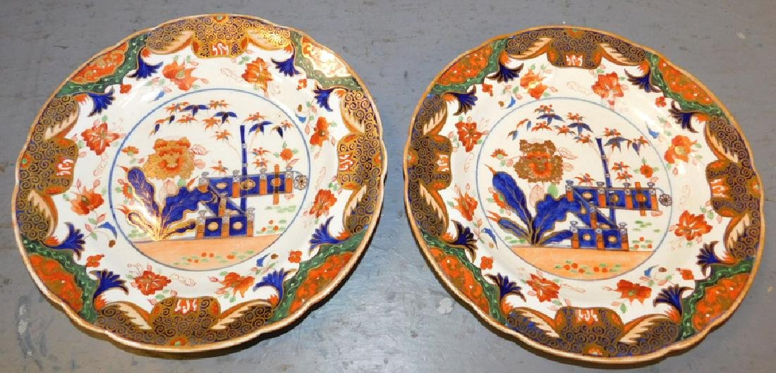Pair of early 19th C Spode plates. (one has hairline)
