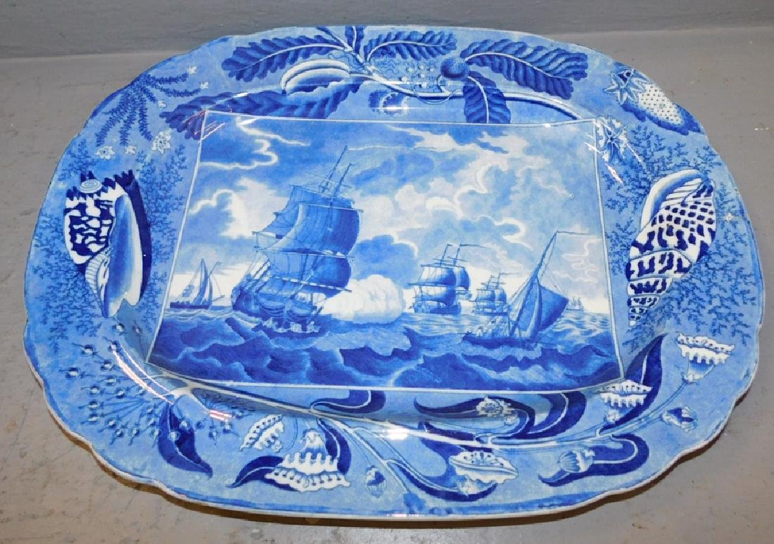 Large blue transfer ship's platter with hairline.