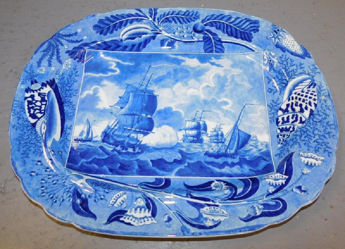 Large blue transfer ship's platter with hairline. - 2
