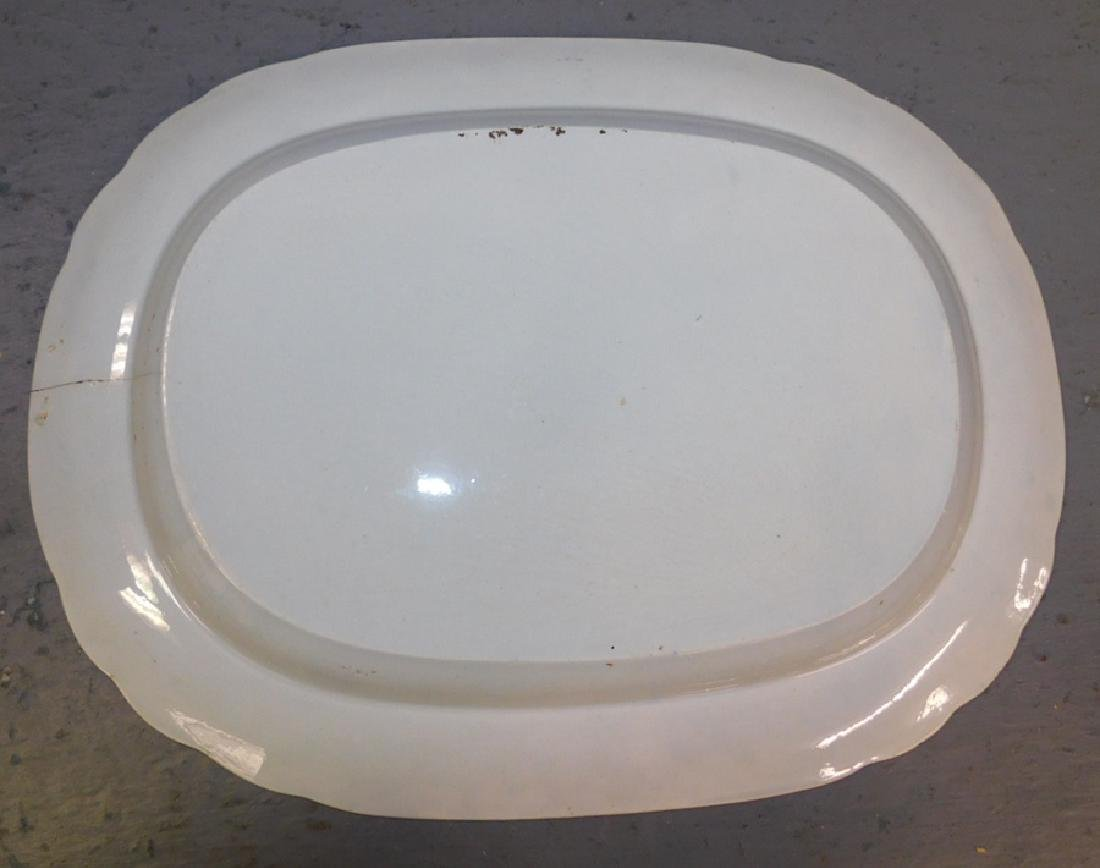 Large blue transfer ship's platter with hairline. - 3