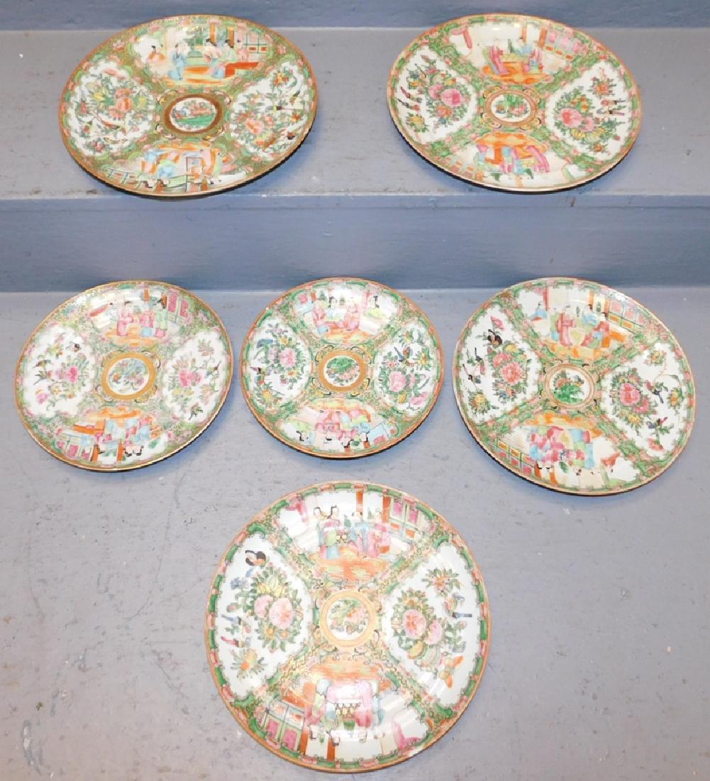 Set of 6 19th C Rose Medallion plates