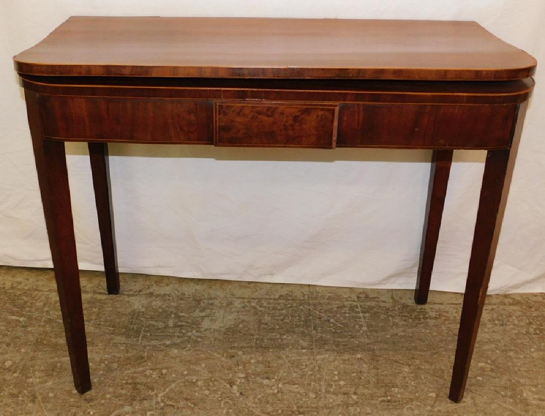 Mahogany Inlaid Hepplewhite fold over game table.