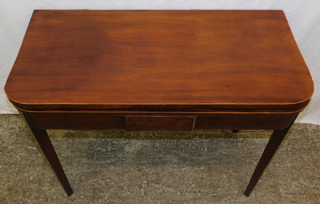 Mahogany Inlaid Hepplewhite fold over game table. - 2