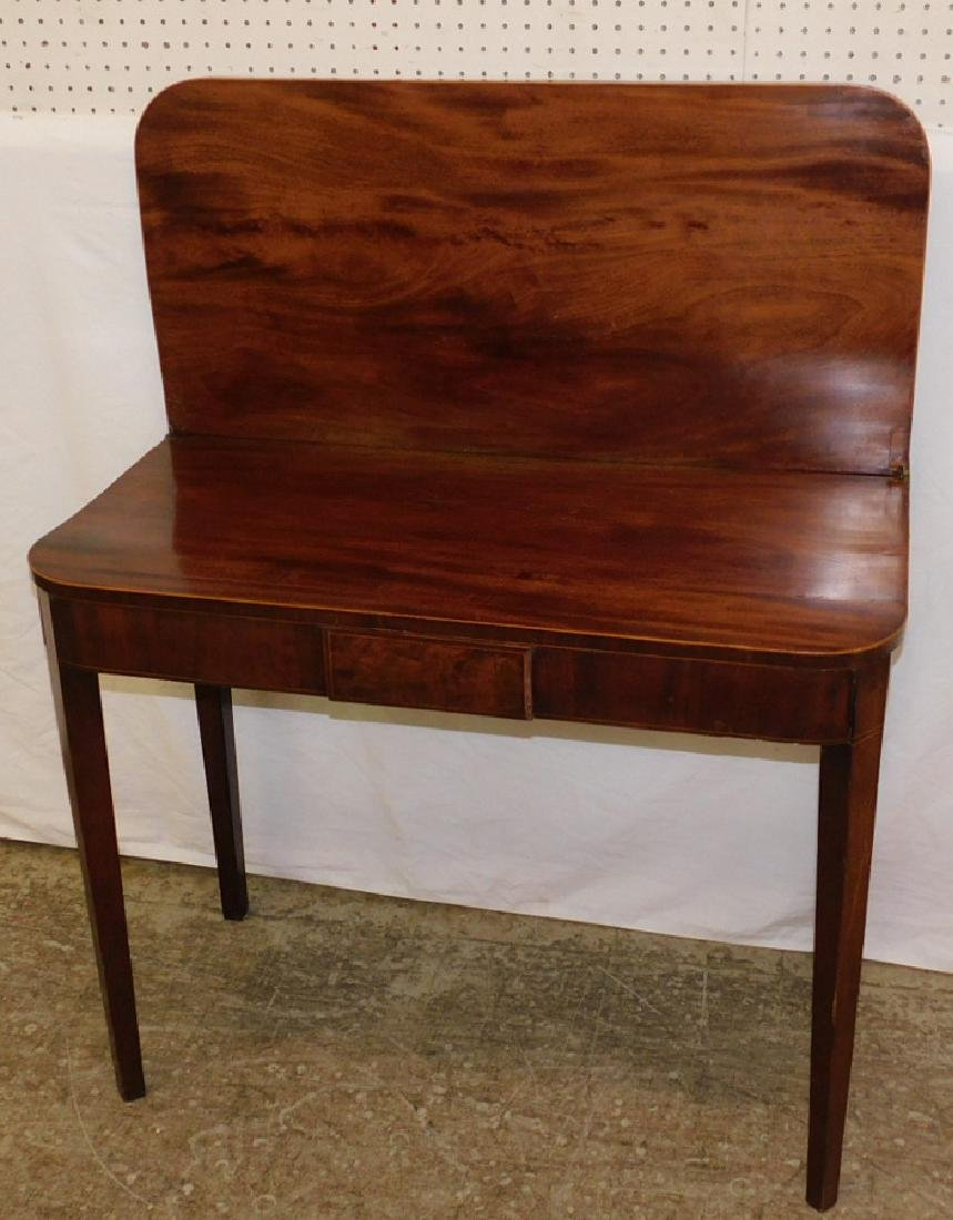 Mahogany Inlaid Hepplewhite fold over game table. - 3
