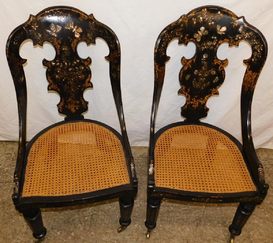 Pr black lacquered MOP inlaid cane seat chairs - 2