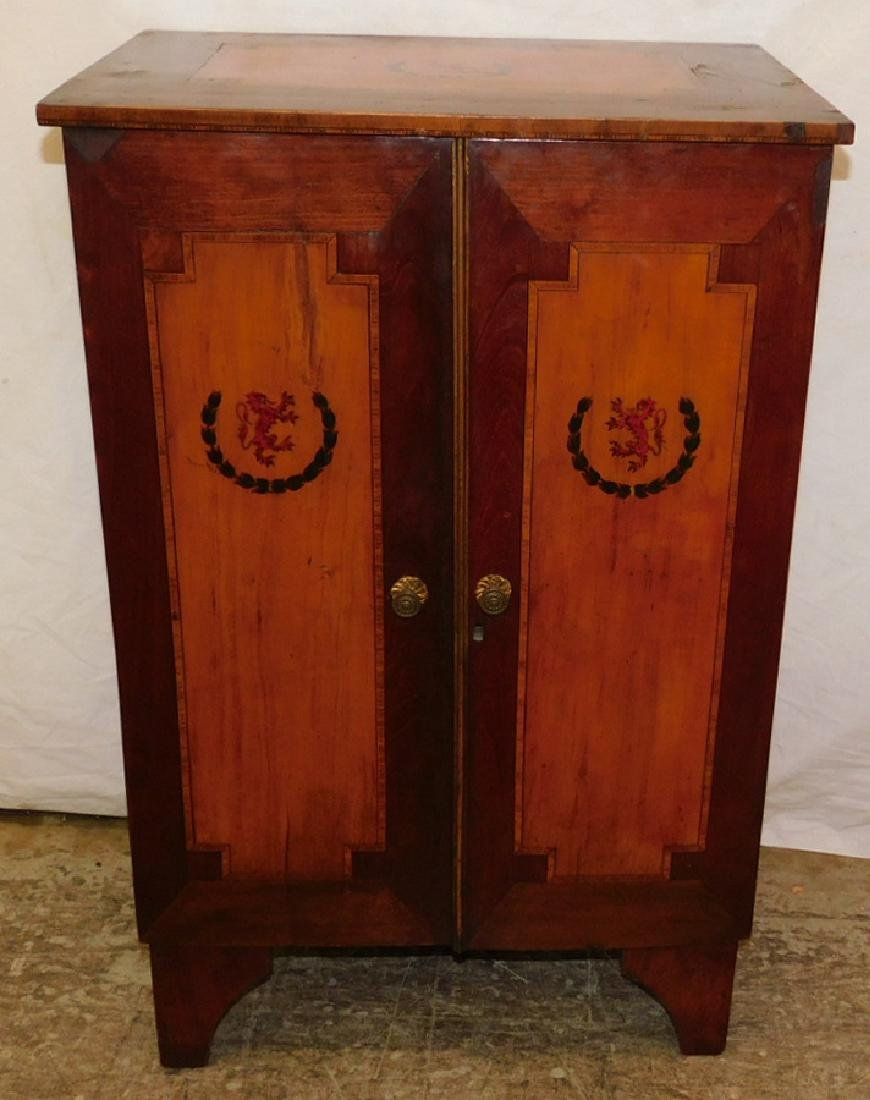 Inlaid Edwardian mahogany & yew wood cabinet.