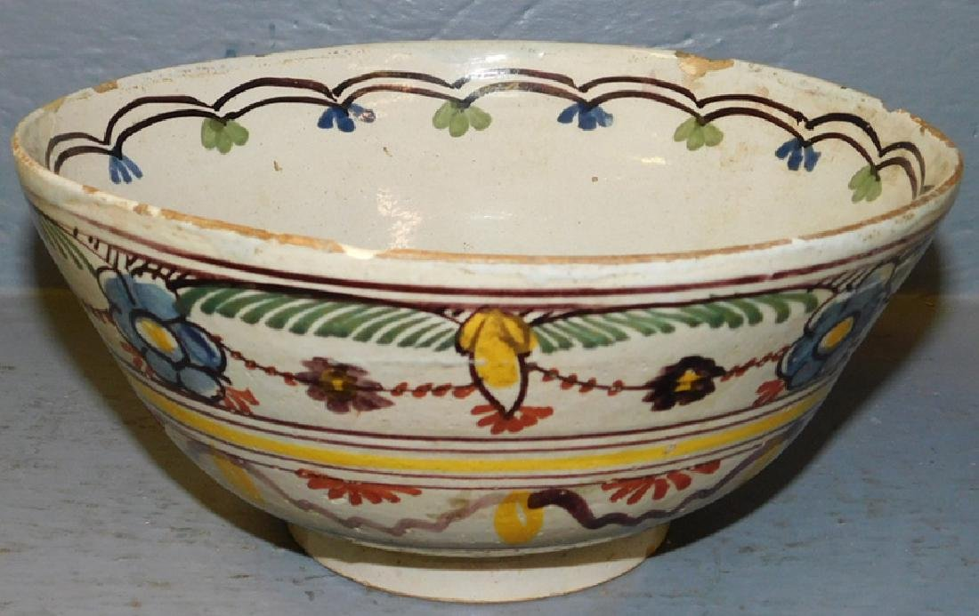 """18th century polychrome Delft bowl. 8 1/2"""" dia."""