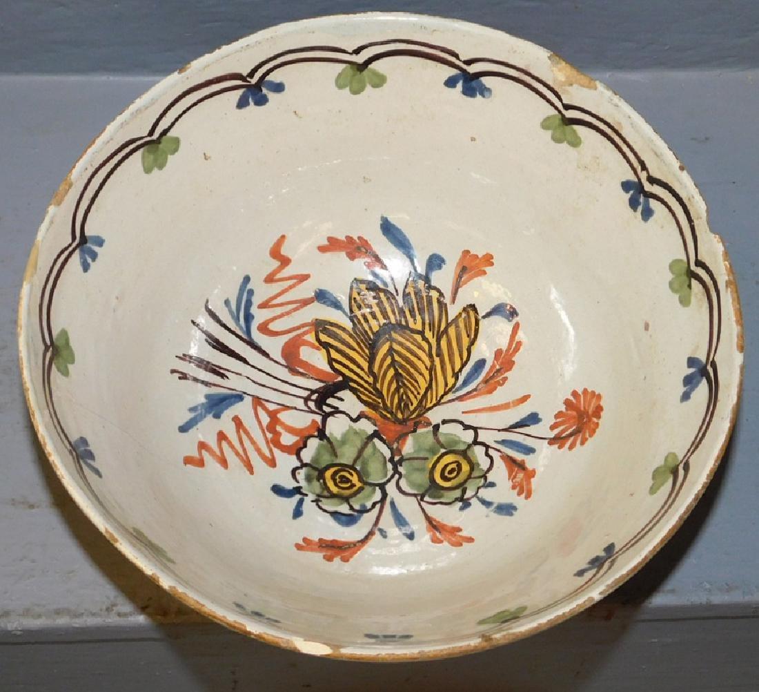 """18th century polychrome Delft bowl. 8 1/2"""" dia. - 2"""