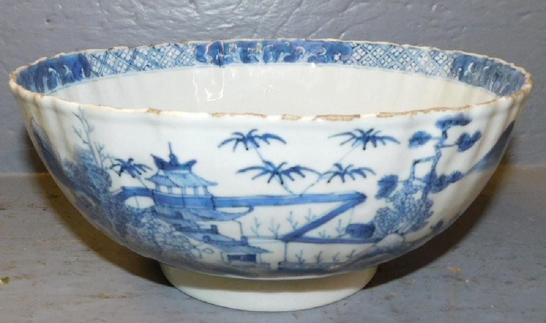 18th c scallop edge Chinese blue and white bowl.