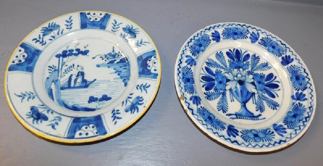 "2 blue and white 18th century Delft plates. 9"" dia."