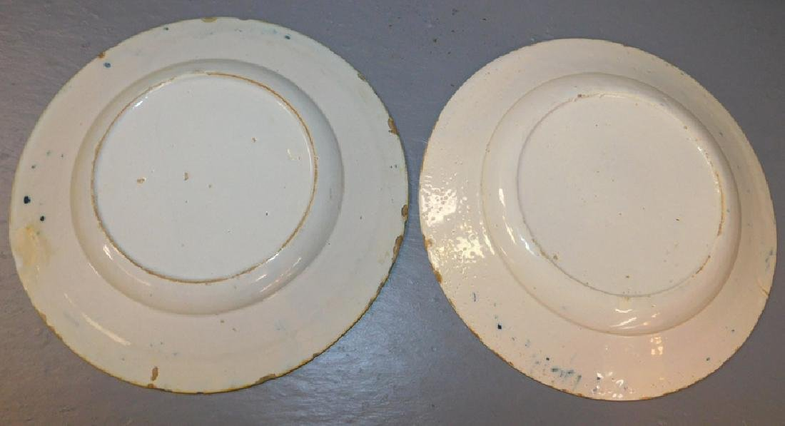 "2 blue and white 18th century Delft plates. 9"" dia. - 2"