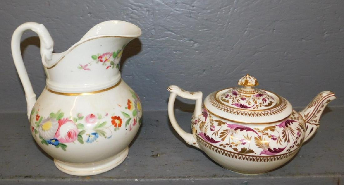 Crown Derby teapot and Old Paris pitcher.