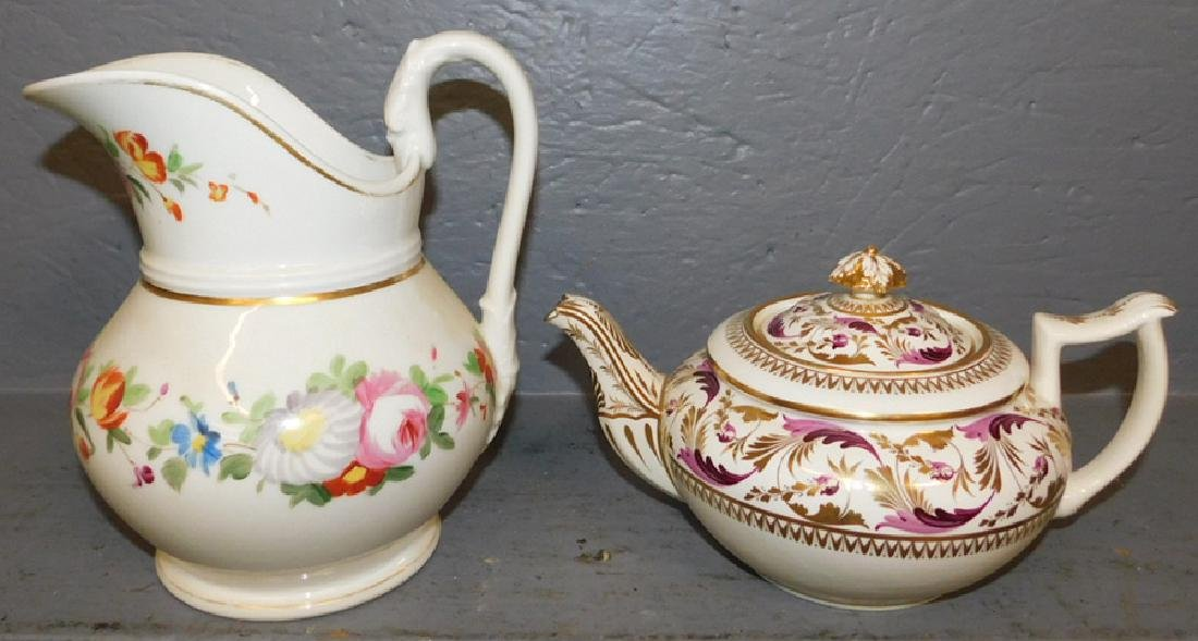 Crown Derby teapot and Old Paris pitcher. - 2