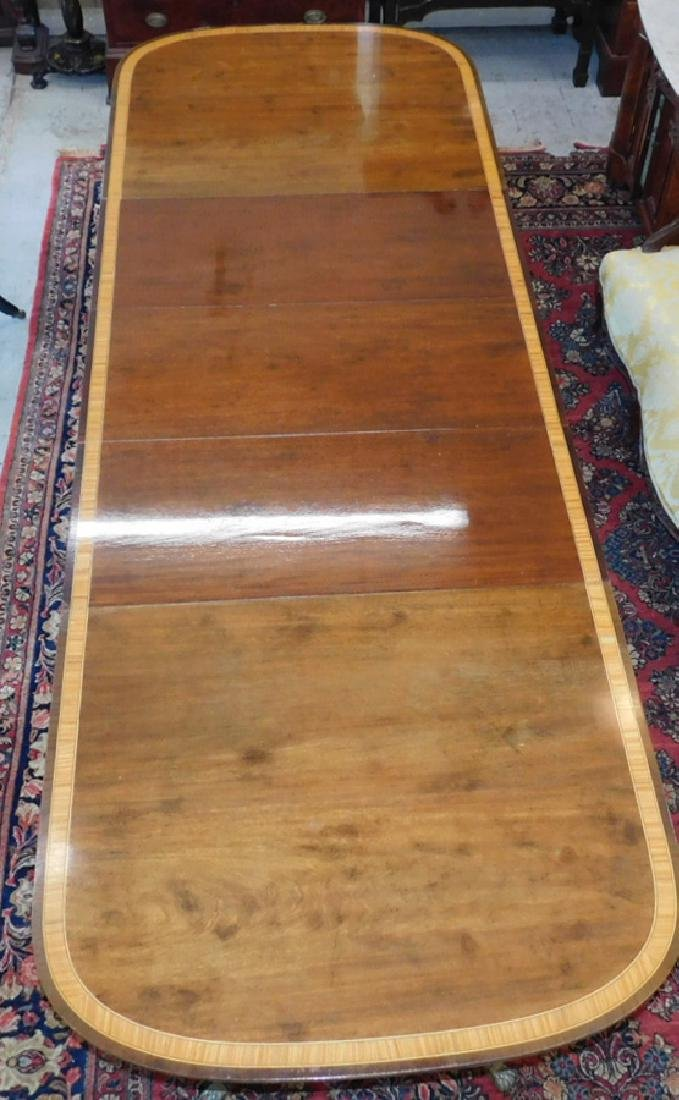 2 pedestal mahogany banded top table w 3 leaves. - 3