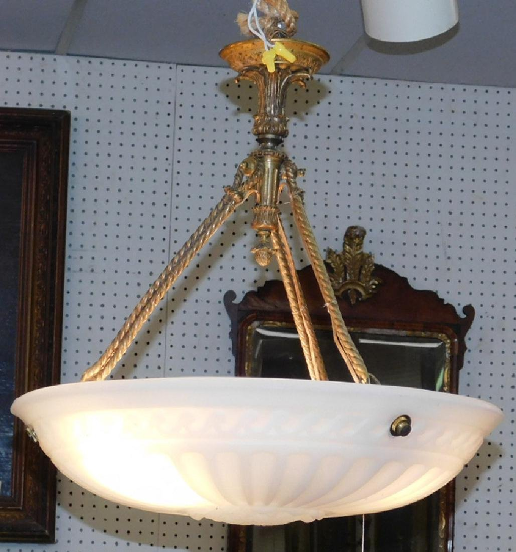 French hanging foyer lamp w/ alabaster shade.