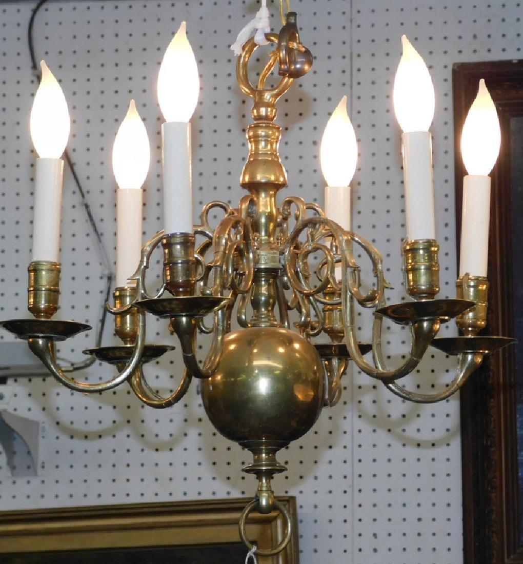 "19th c 6 light brass chandelier. 19"" long."