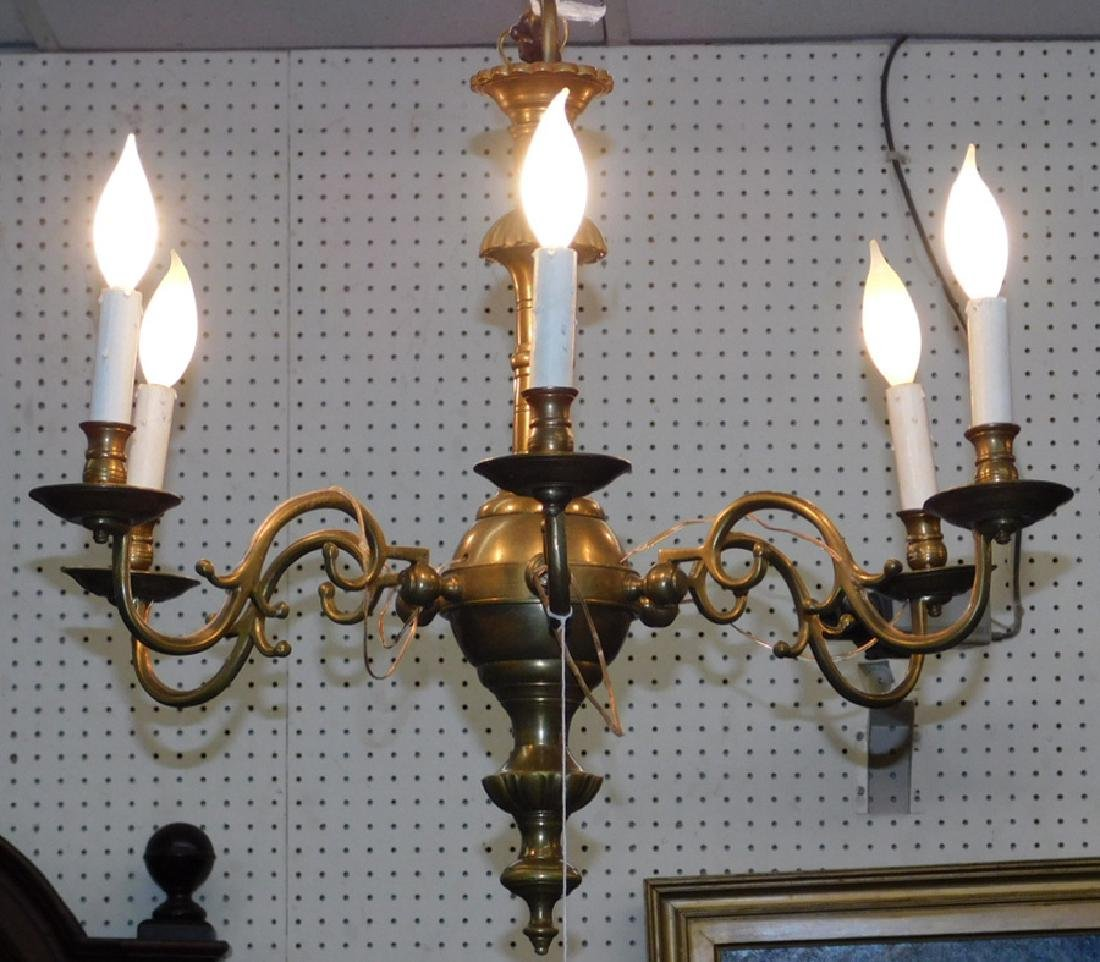 "19th c 6 light brass chandelier. 20"" tall."