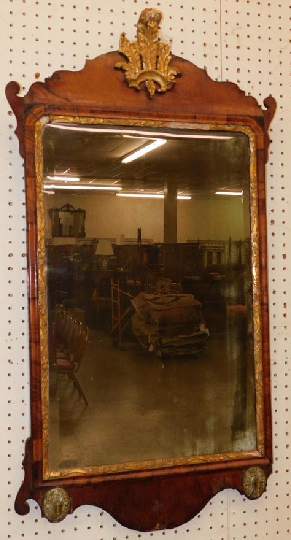 18th c QA burl walnut mirror