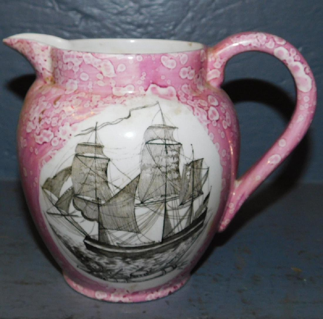 """19th century pink luster pitcher. 6"""" tall."""